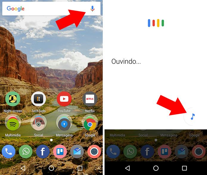 Ative o Google Now e toque no ícone de música (Foto: Reprodução/Paulo Alves)