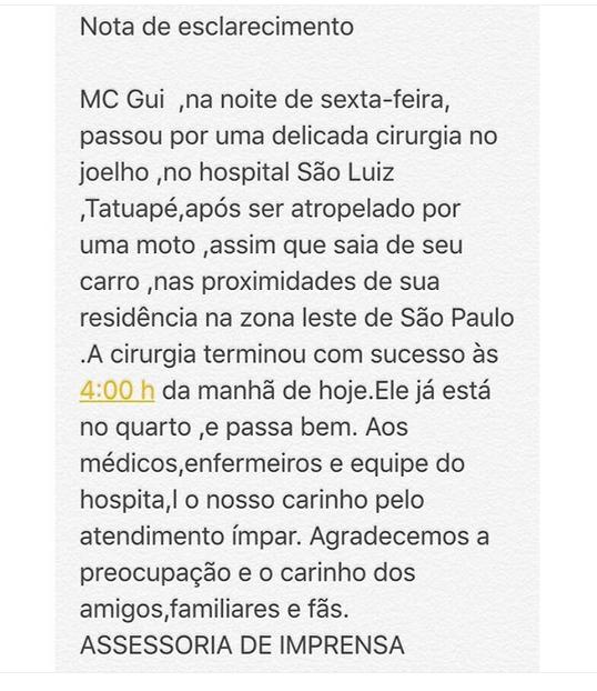 Comunicado sobre MC Gui (Foto: Reprodução/Instagram)
