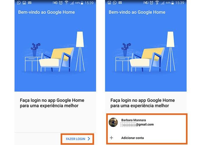 Adicione sua conta Google para usar o Google Home no celular (Foto: Reprodução/Barbara Mannara)