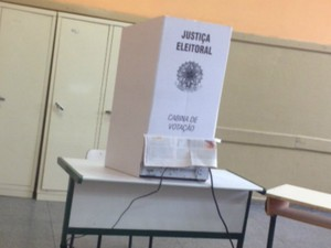 Cabine votação Coronel Macedo (SP). (Foto: Jéssica Pimentel / G1)