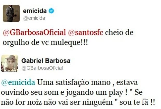 Twitter Gabriel e Emicida (Foto: Reprodução / Twitter)