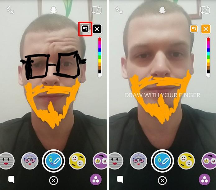 Snapchat tem botão para desfazer voltar corrigir erros no desenho (Foto: Reprodução/Elson de Souza)