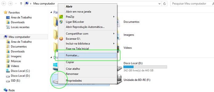 Para formatar um SSD já formatado, abra o Windows Explorer e clique com o botão direito sobre o SSD (Foto: Reprodução/Adriano Hamaguchi)