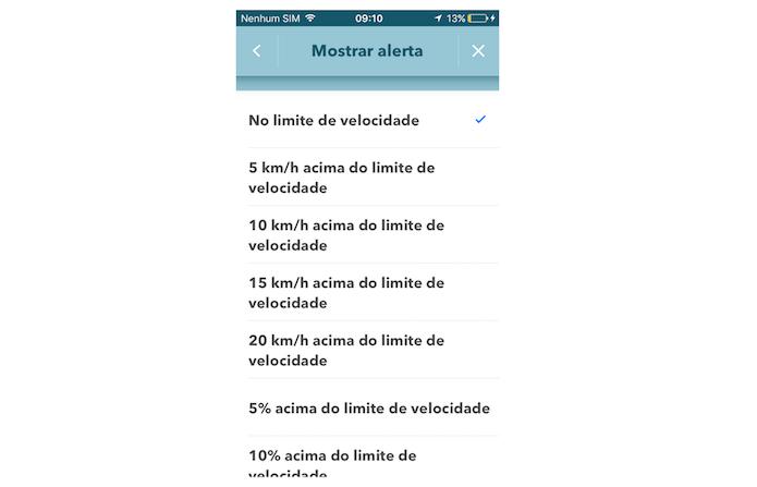 Definindo quando o alerta de excesso de velocidado do Waze será emitido no aplicativo para iPhone (Foto: Reprodução/Marvin Costa)