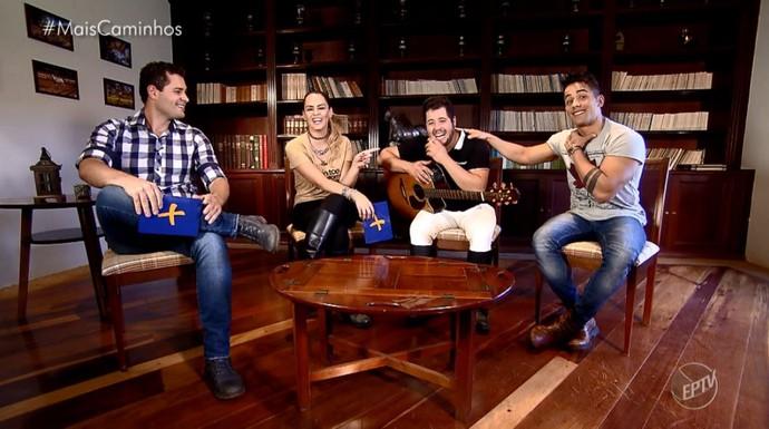 Pedro Leonardo e Aline Lima batem um papo com a dupla sertaneja Higo e Tiago, em Jaguariúna (SP) (Foto: reprodução EPTV)
