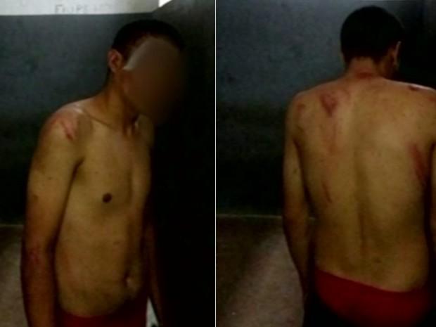 Menor é agredido suspeito de roubar celular, em Luziânia, em Goiás (Foto: Reprodução/TV Anhanguera)