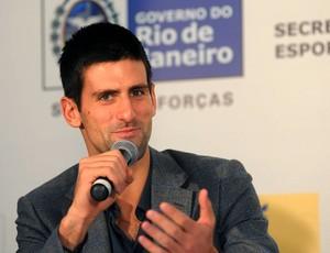 Djokovic Guga tênis coletiva jogo especial (Foto: André Durão / Globoesporte.com)