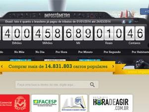 Impostômetro atingiu a marca de R$ 400 bilhões nesta segunda (24) (Foto: Reprodução)