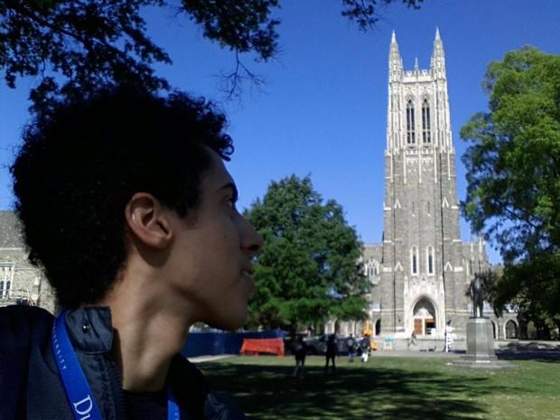 Vinícius Garcia, 19 anos, em visita à Universidade Duke, nos Estados Unidos  (Foto: Foto: Arquivo pessoal )