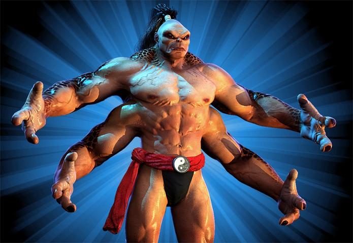 Goro reencena sua clássica aparição dos fliperamas de Mortal Kombat (Foto: Reprodução/DSO Gaming)