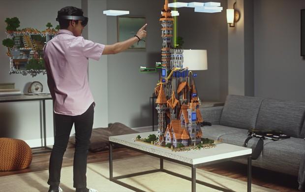 Imagem conceitual da experiência de 'Minecraft' com as HoloLens. Jogador consegue ter sensação verdadeira de profundidade e perspectiva (Foto: Divulgação/Microsoft)