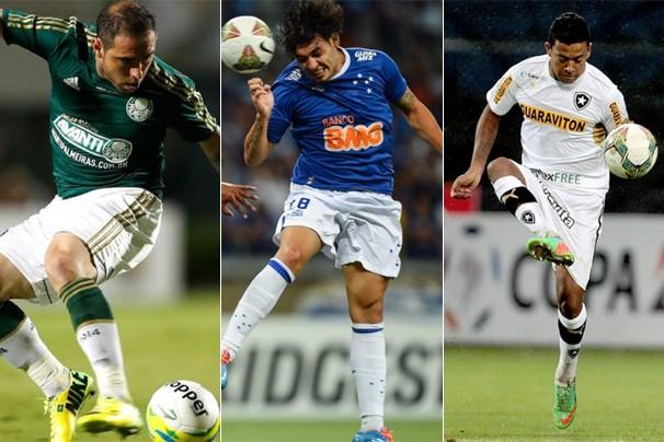 Palmeiras joga pela Copa do Brasil; Cruzeiro, pela Libertadores; e Botafogo, pelo Campeonato Brasileiro (Foto: globoesporte.com)