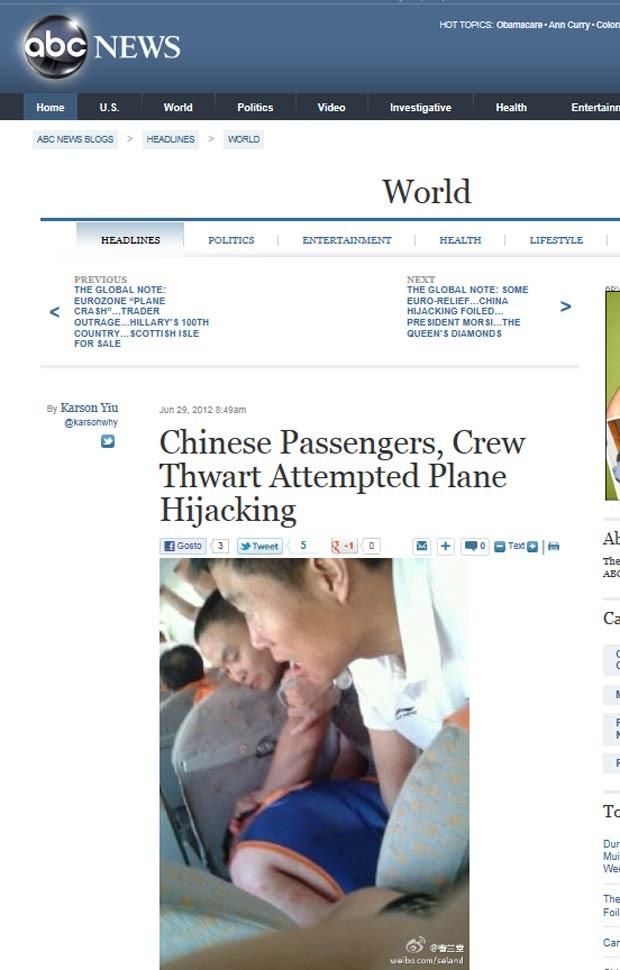 Imagem que seria do momento do incidente, postada no site de microblogs chinês Sina Weibo e reproduizida pela imprensa internacional (Foto: Reprodução)