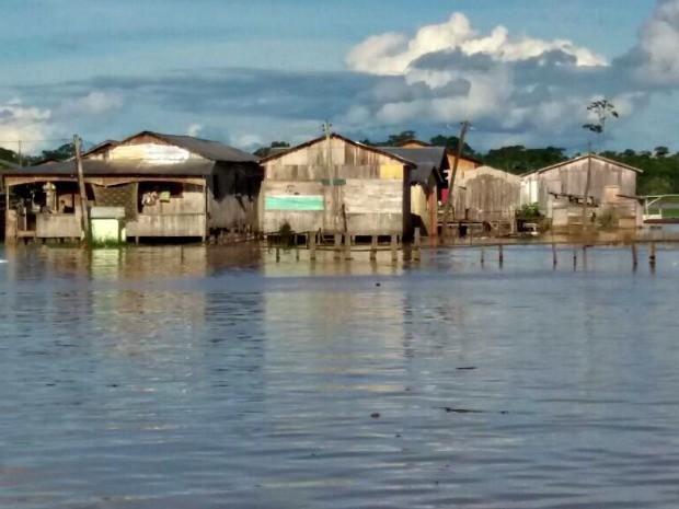 Mais de 400 famílias foram atingidas pelas águas do Rio Tarauacá nesta quarta-feira (15), segundo Defesa Civil (Foto: Jyensveferpher Jardim/Arquivo Pessoal)