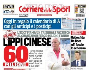 """Capa do jornal """"Corriere dello Sport"""" com Marcelo Lippi no Guangzhou Evergrande (Foto: Reprodução)"""