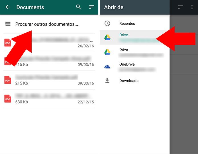 Escolha uma conta do Drive ou OneDrive (Foto: Reprodução/Paulo Alves)
