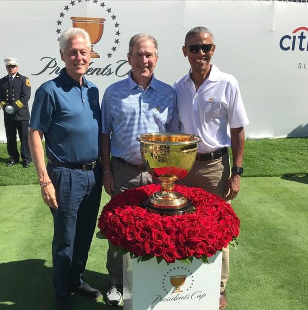 Obama, Clinton e Bush na partida de golfe (Foto: Reprodução Instagram)