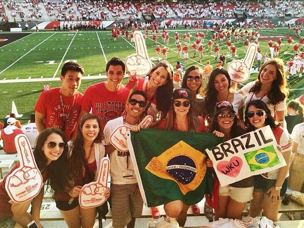 André Martins das Neves e outros estudantes brasileiros da Universidade Western Kentucky (Foto: Arquivo pessoal/André Martins das Neves)