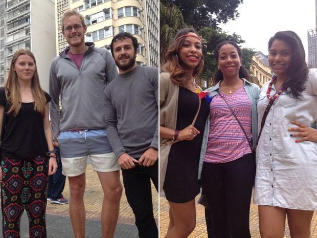 À esq., os australianos Zoe, Andrew e Tim; à dir., a americana Jaisa com as colombianas Nohelia e Kenia  (Foto: Flávia Mantovani/G1)