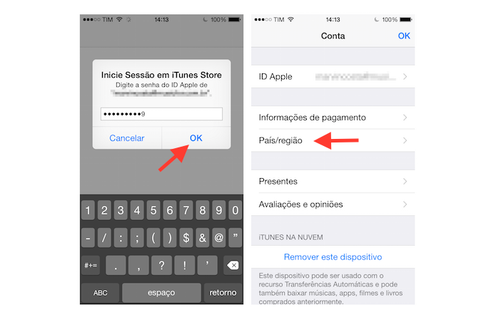 Acessando a opção de país e região da App Store do iOS (Foto: Reprodução/Marvin Costa)