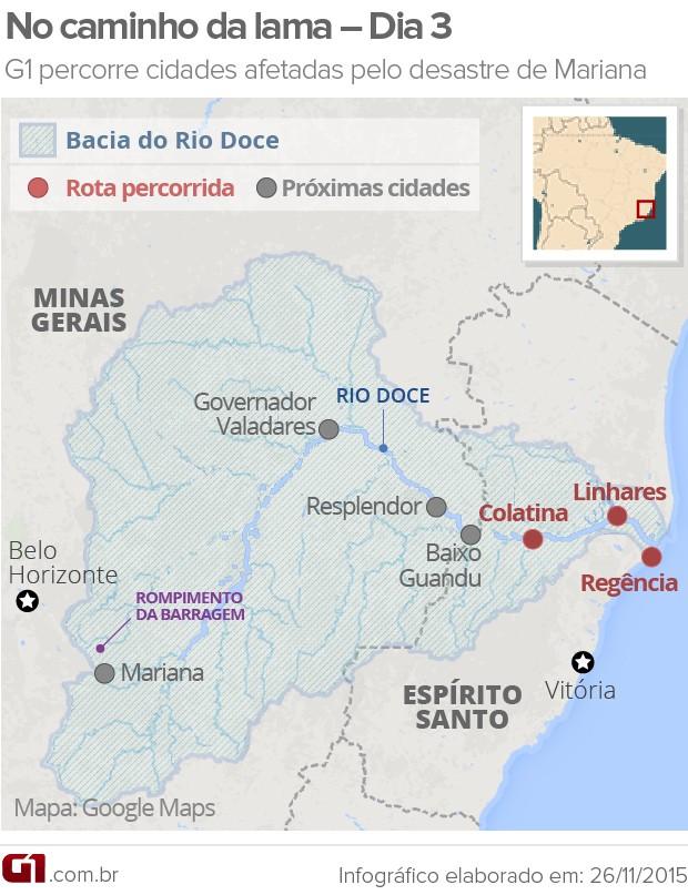 Mapa DIA 3 - caminho da lama (Foto: Arte/G1)