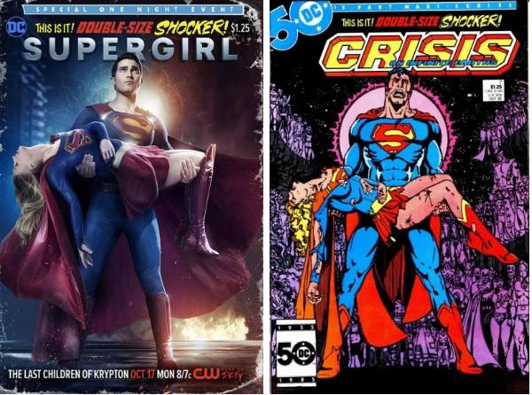 O cartaz de 'Supergirl' e a capa da HQ protagonizada pelo Super-Homem (Foto: Reprodução)