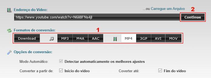 Selecionando o formato para o qual o vídeo será convertido (Foto: Reprodução/Edivaldo Brito)