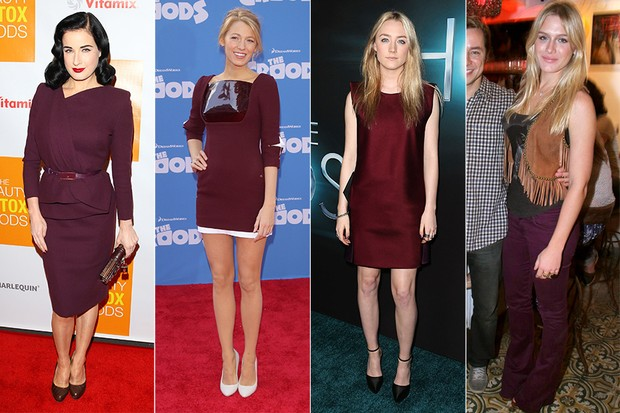 Look Burgundy - Dita Von Teese, Blake Lively, Saoirse Ronan e Fiorella Mattheis (Foto: Getty Images || André Muzell / AgNews)