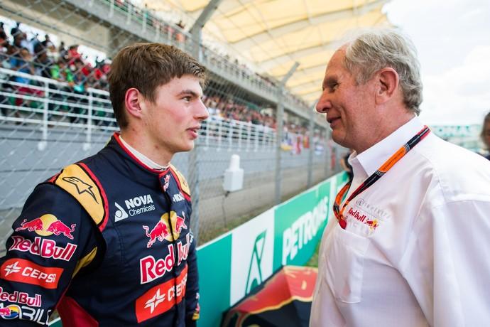 Max Verstappen e Helmut Marko no GP da Malásia de 2015 (Foto: Getty Images)