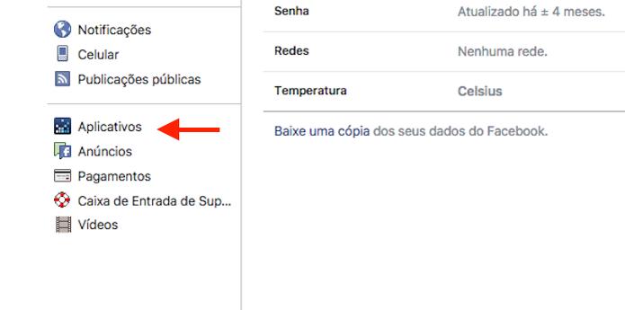 Acesso a ferramenta de gerenciamento de aplicativos no Facebook (Foto: Reprodução/Marvin Costa) (Foto: Acesso a ferramenta de gerenciamento de aplicativos no Facebook (Foto: Reprodução/Marvin Costa))