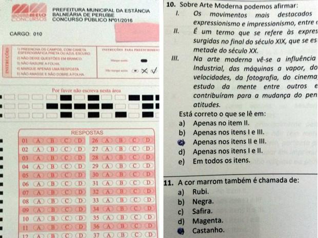 Gabarito oficial tinha letras de A até D, enquanto prova tinha 5 alternativas (Foto: Reprodução)