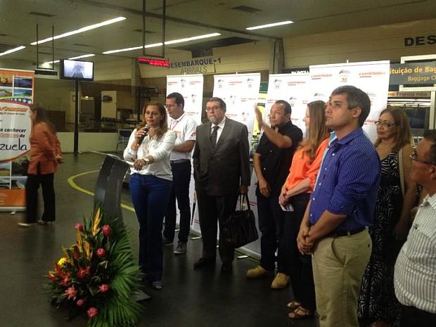 Cerimônia de lançamento do voo foi realizada no Aeroporto Internacional de Manaus (Foto: Divulgação/Amazonastur)