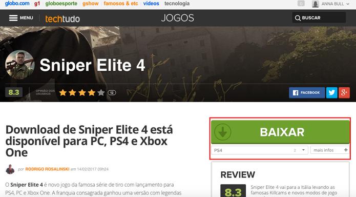 Faça download de Sniper Elite 4 (Foto: Reprodução/Anna Kellen Bull)
