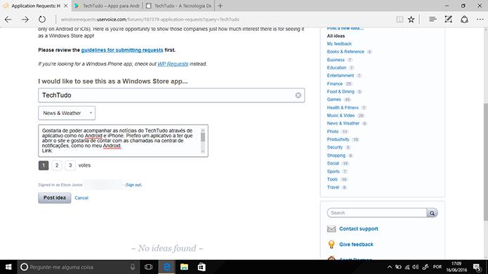 Solicitação de app para Windows 10 pode conter descrição do aplicativo com link (Foto: Reprodução/Elson de Souza)
