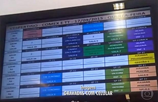 Quadro de aula mostra falta de professores na Fatec de Barueri (Foto: TV Globo/Reprodução)
