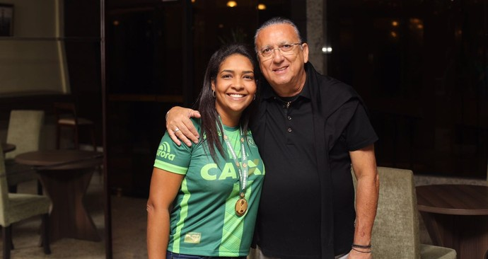 Galvão Bueno e Bárbara esposa Ananias Chapecoense (Foto: Arquivo pessoal)