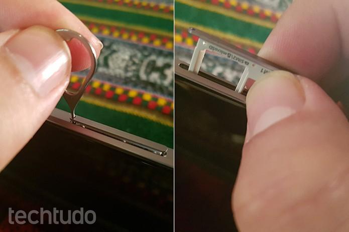 Assim que a bandeja soltar, como mostra a primeira foto, puxe com cuidado (Foto: Filipe Garrett/TechTudo)