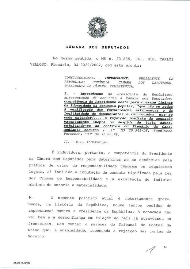 14 - Leia íntegra da decisão de Cunha que abriu processo de impeachment (Foto: Reprodução)