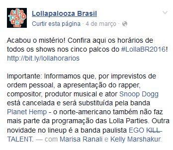 Lollapalooza (Foto: Reprodução/Facebook)