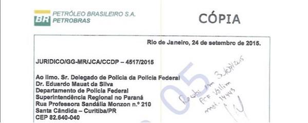 Cabeçalho do documento enviado pelos advogados da Petrobras à operacão Lava Jato sobre contrato de nafta da Braskem