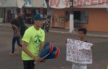 Venilton Teixeira luta na rua para arrecadar dinheiro para atletas do AP