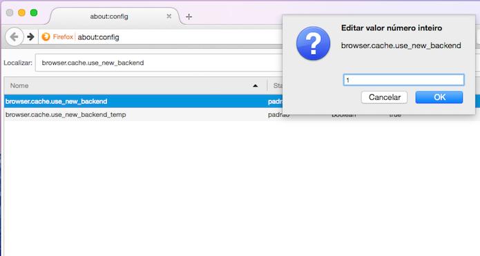 Ativando a opção browser.cache.use_new_backend no Firefox (Foto: Reprodução/Edivaldo Brito)