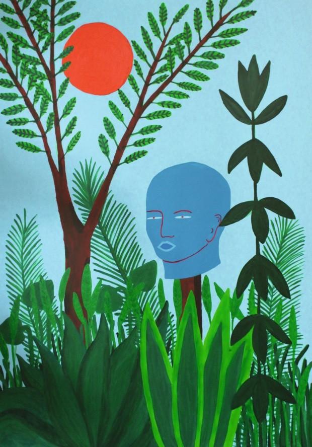 Tela. Cabeça, tinta acrílica sobre tela, 1 x 1,50 m. Na Galeria Mezanino, R$ 4.500 (Foto: Divulgação)