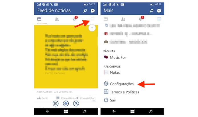 Acessando as configurações do Facebook no Windows Phone (Foto: Reprodução/Marvin Costa)