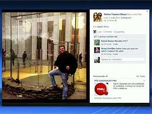 Empresário João Hélio Neto, de Campinas, em foto em frente a loja na Times Square, em Nova York (Foto: Reprodução EPTV)
