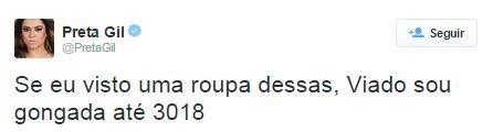 Preta Gil fala de roupa de Rihanna no Rock in Rio (Foto: Reprodução / Twitter)