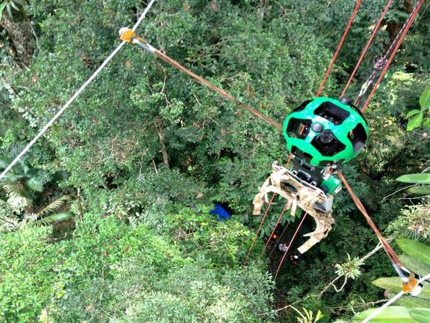 Trekker foi pendurado a tirolesa para captar imagens na altura das copas das árvores (Foto: Divulgação/FAS)