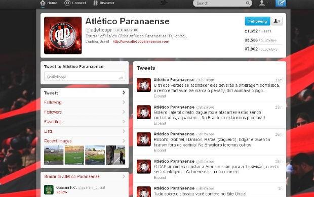 Twitter do Atlético-PR (Foto: reprodução Twitter)