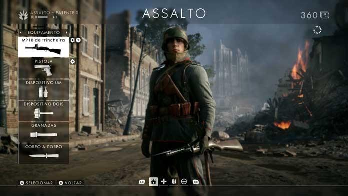 Selecione a arma em Battlefield 1 (Foto: Reprodução/Murilo Molina)