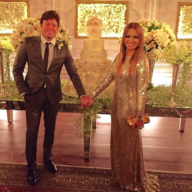 Solange Almeida com o empresário Wagner Miau no casamento de Xand em Fortaleza, no Ceará (Foto: Instagram/ Reprodução)